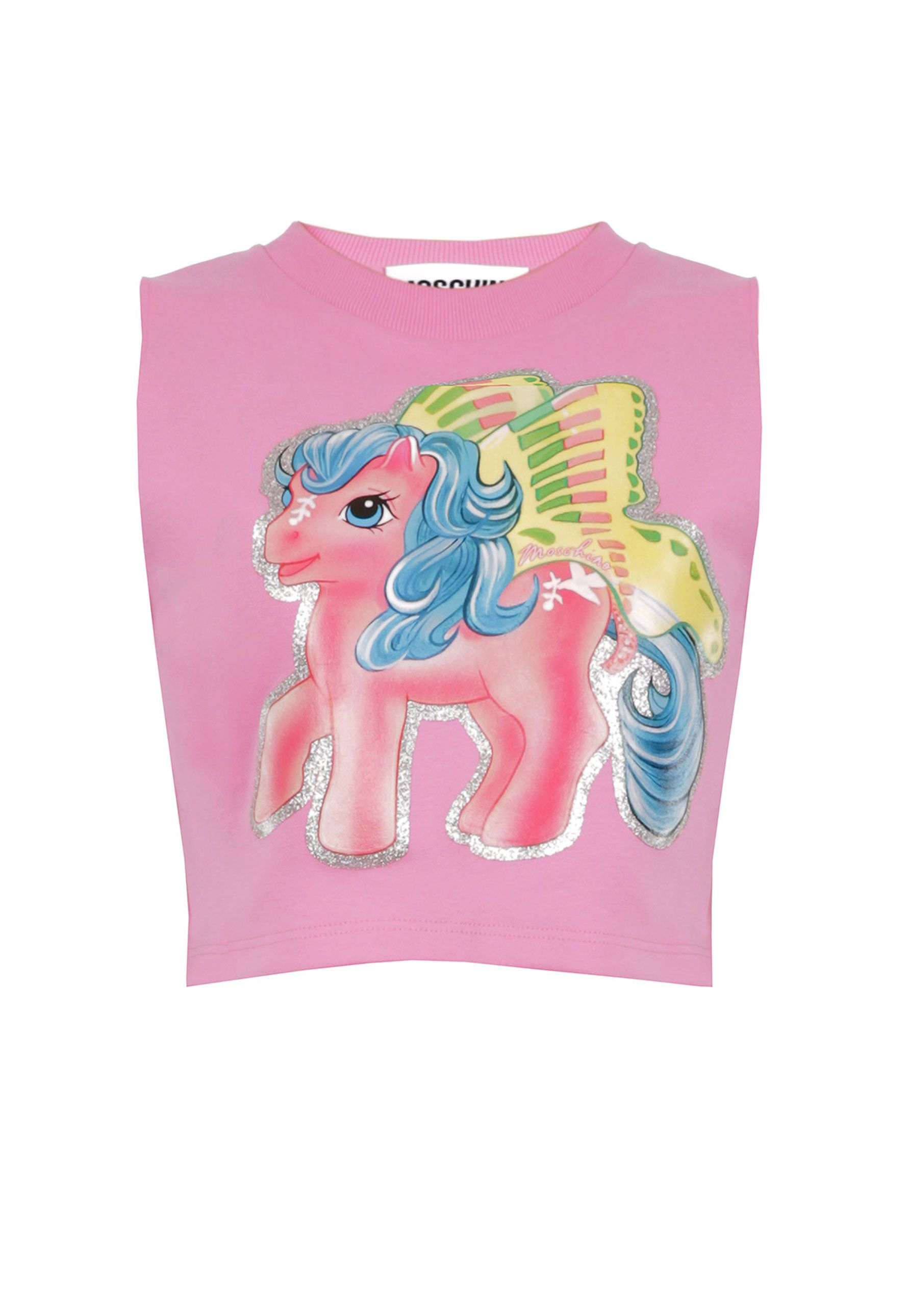 9175b503e0 Moschino My Little Pony Crop Top in pink. Moschino's exclusive My Little  Pony graphic decorates