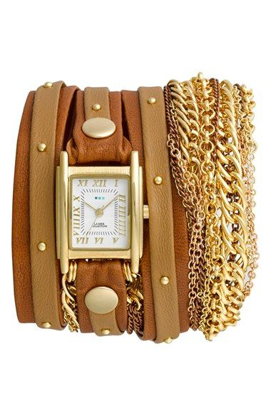 La Mer Collections Leather Chain Wrap Bracelet Watch 23mm X 30mm Available At Nordstrom