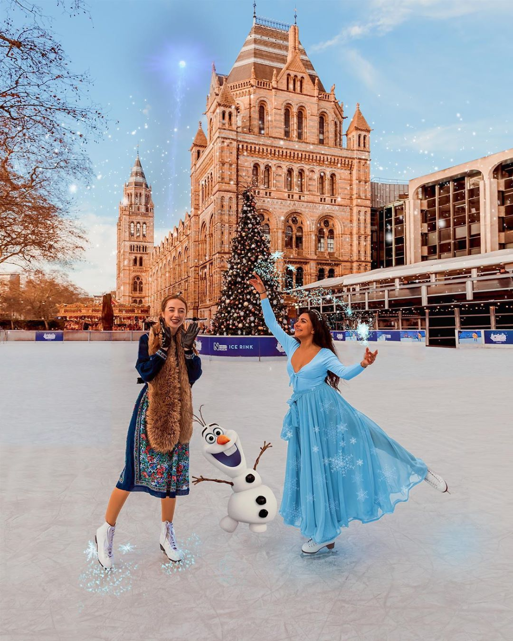 Magical Christmas On Ice 2020 Anna & Elsa Skating Cosplay at Natural History Museum Ice Rink in