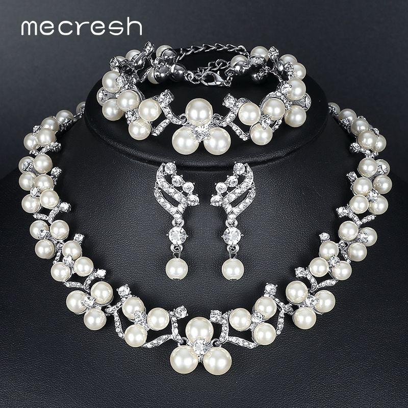 Mecresh Simulated Pearl Bridal Jewelry Sets 2017 New Wedding Necklace  Earrings Bracelets Sets For Women MTL472 23204f4facd0