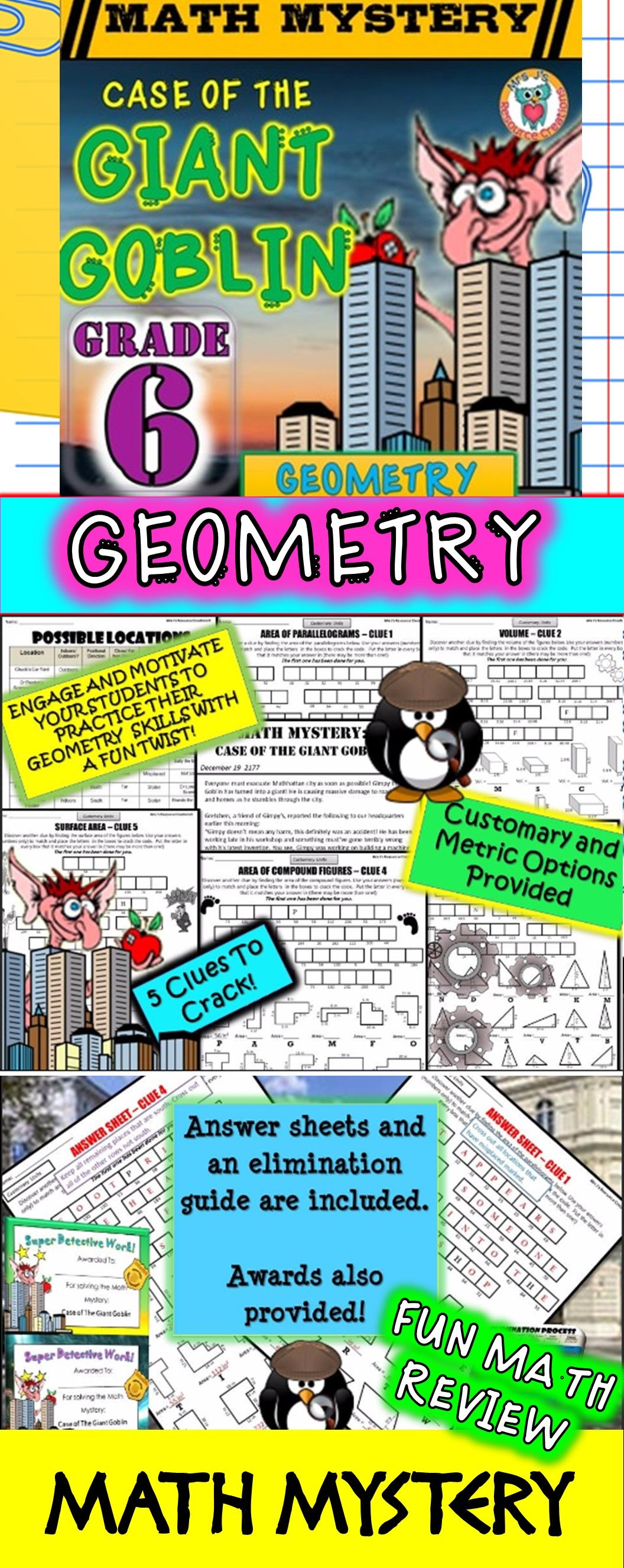 6th grade geometry review math mystery area prisms volume more geometry math mystery case of the giant goblin sixth grade version fun geometry fandeluxe Gallery