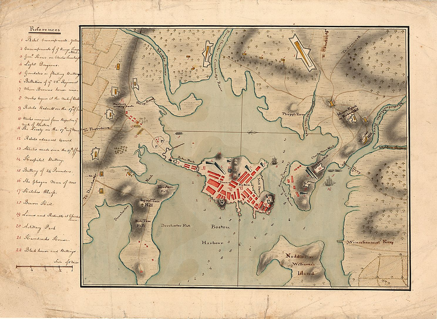 Map Of Boston Harbor During The Revolution American Colonial - Map of boston vicinity