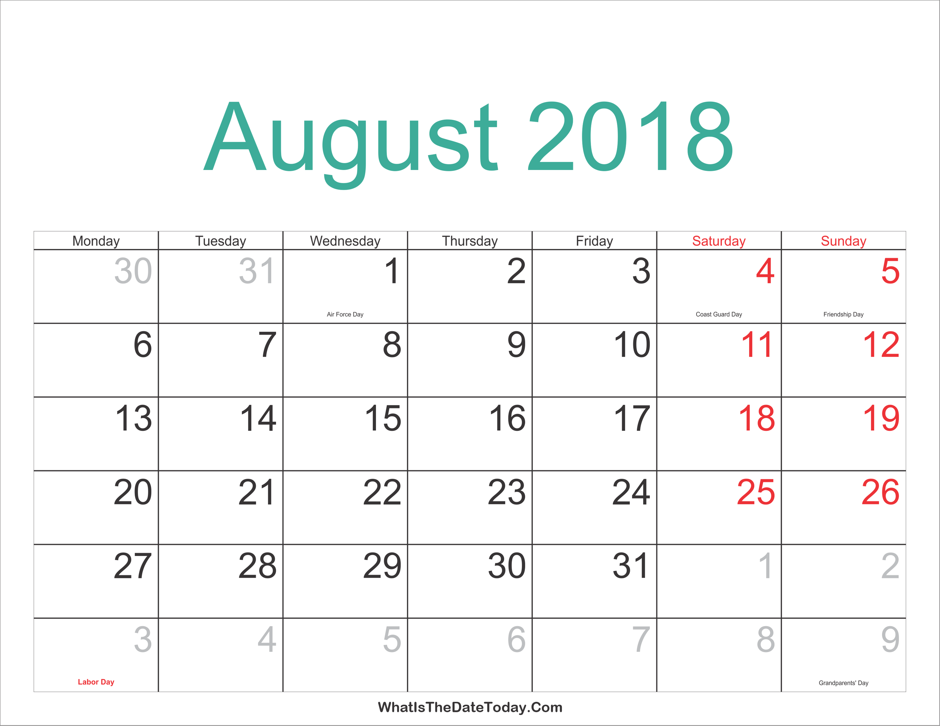 august 2018 calendar philippines template