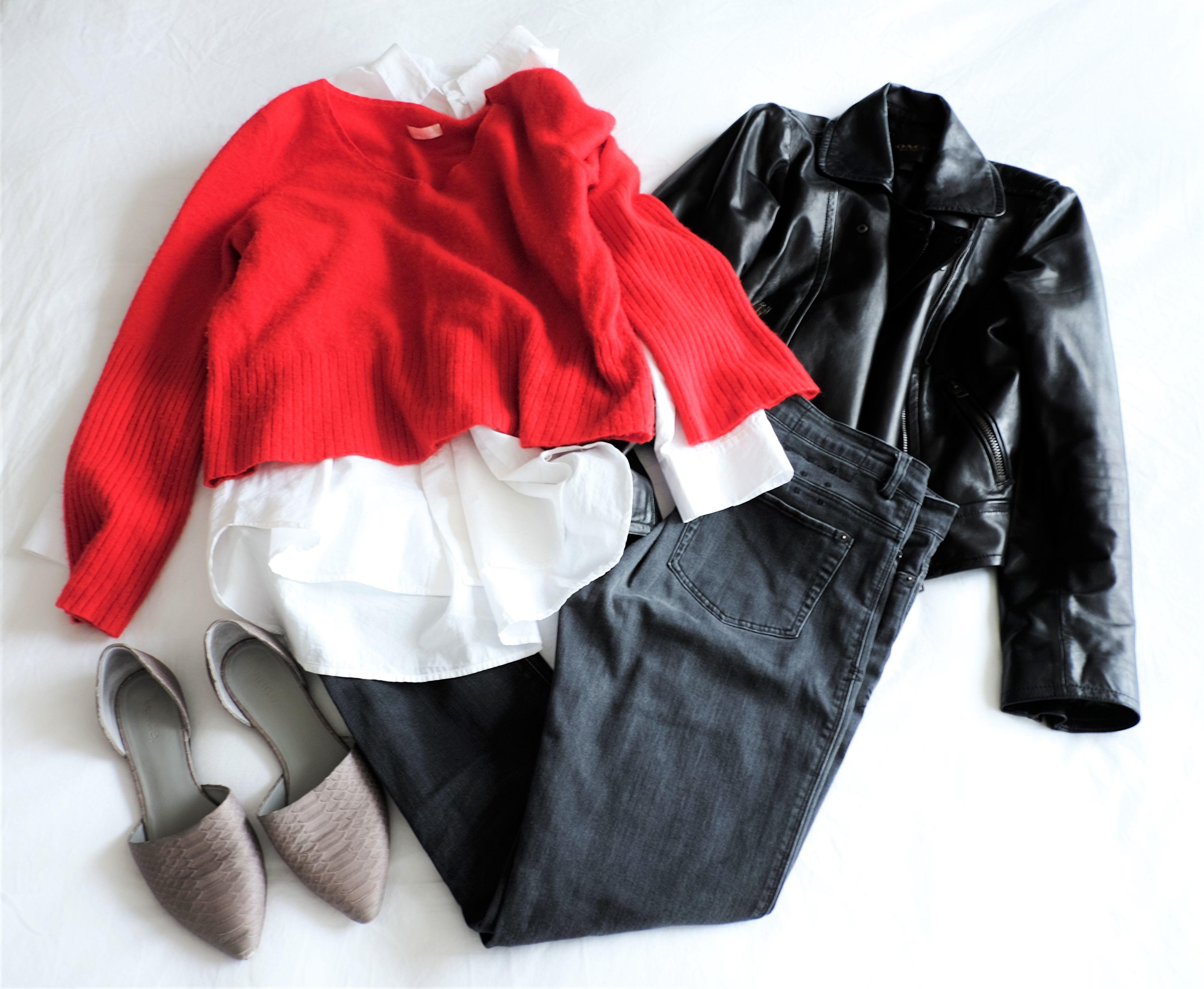 Vintage black jeans, white oversize shirt, black leather ...