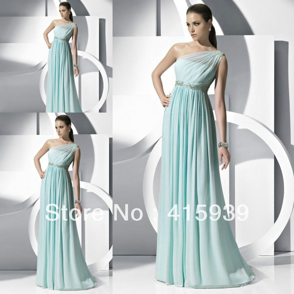 Free shipping 2014 new arrival a line one shoulder beaded empire free shipping 2014 new arrival a line one shoulder beaded empire waist mint bridesmaid dresses brides ombrellifo Images
