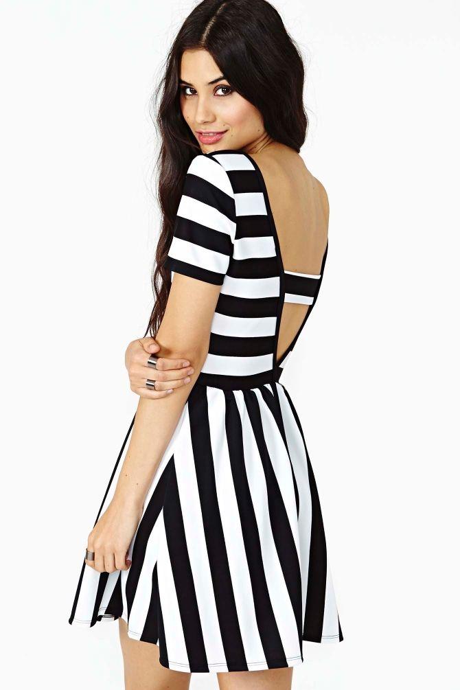 Shadow Lines Skater Dress