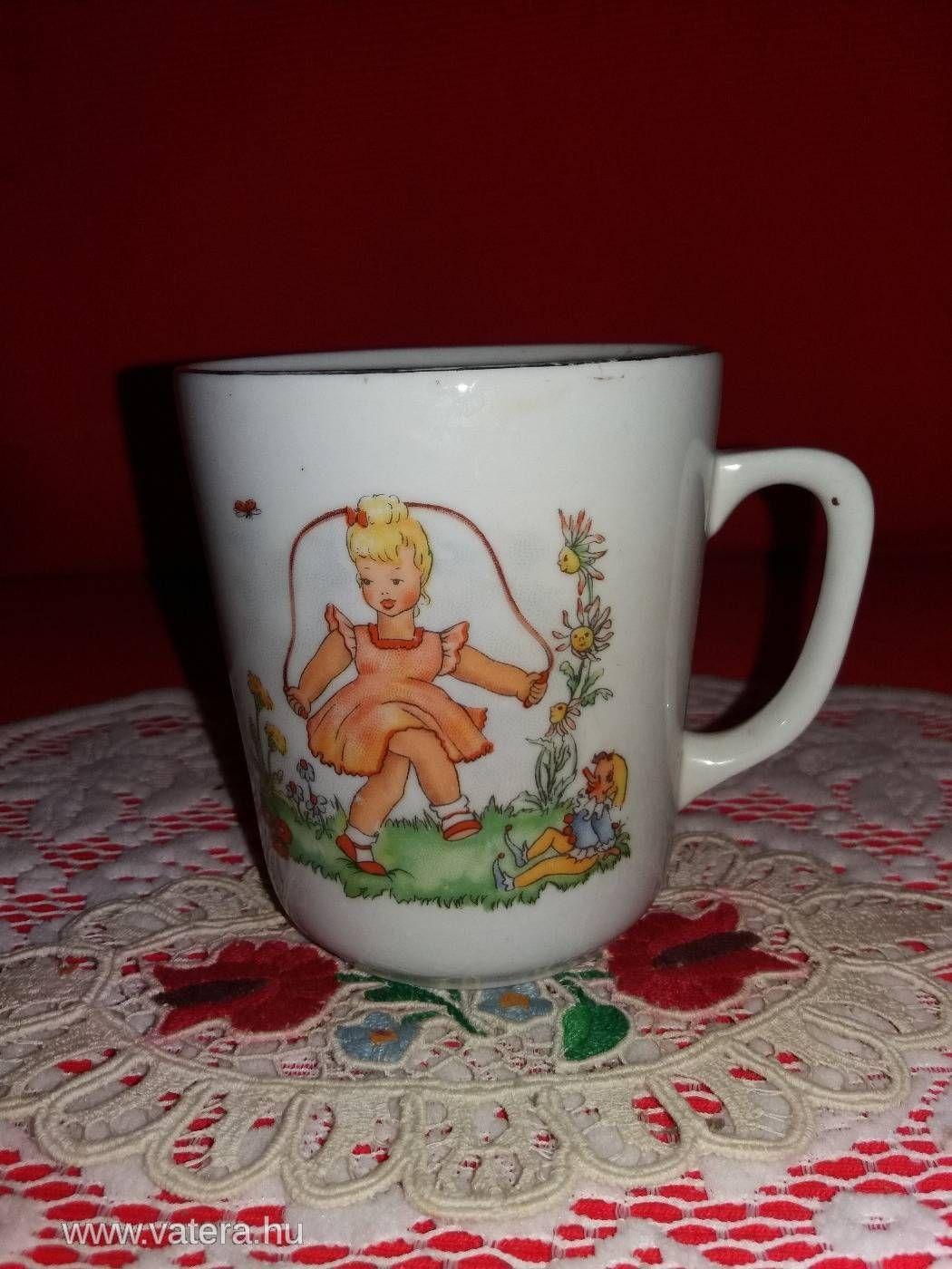fd3a6293a3 Antik Zsolnay porcelán gyermek mese bögre   Art of Porcelain and ...