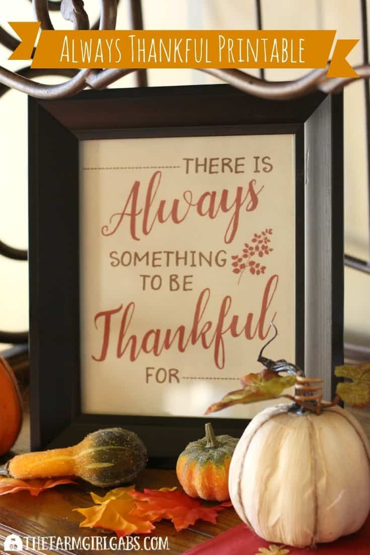 Always Thankful Free Printable - The Farm Girl Gabs