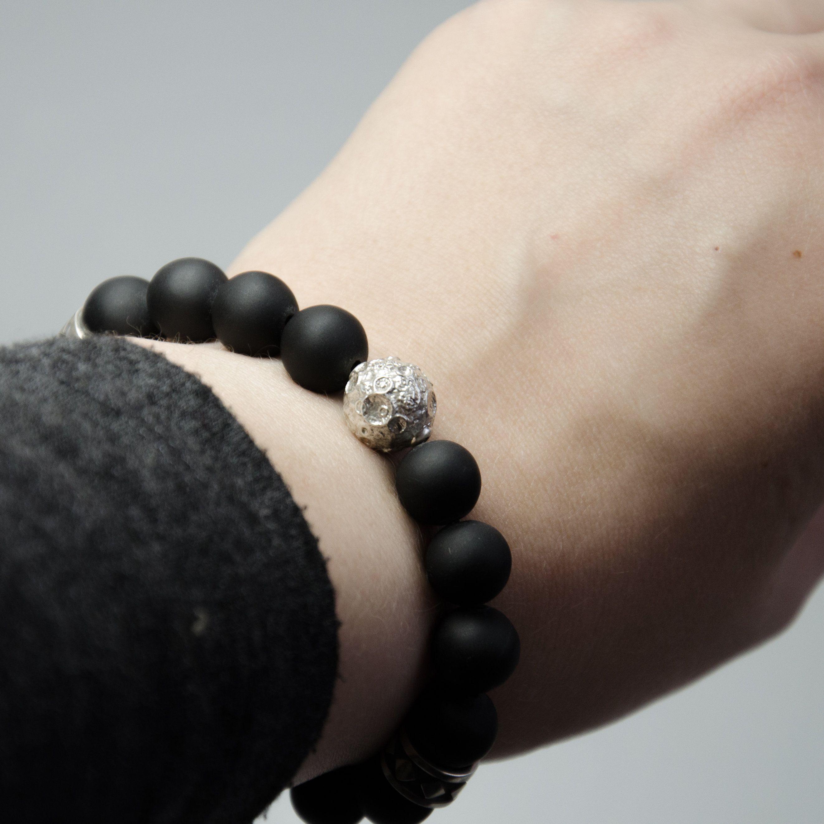 Silver moon bracelet man black matte bracelet shungite bracelet