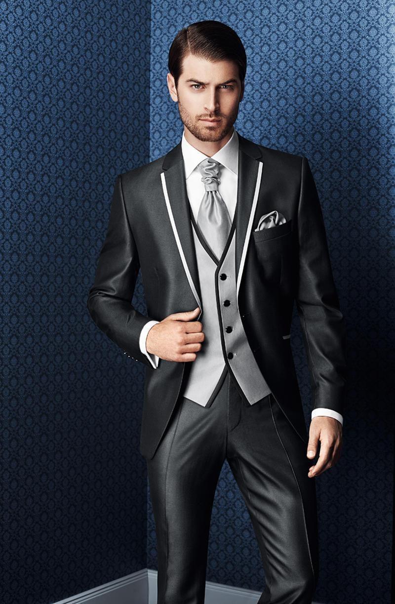 Custom Made Brand New Groom Tuxedos Notch Lapel Men\'S Suit Shiny ...