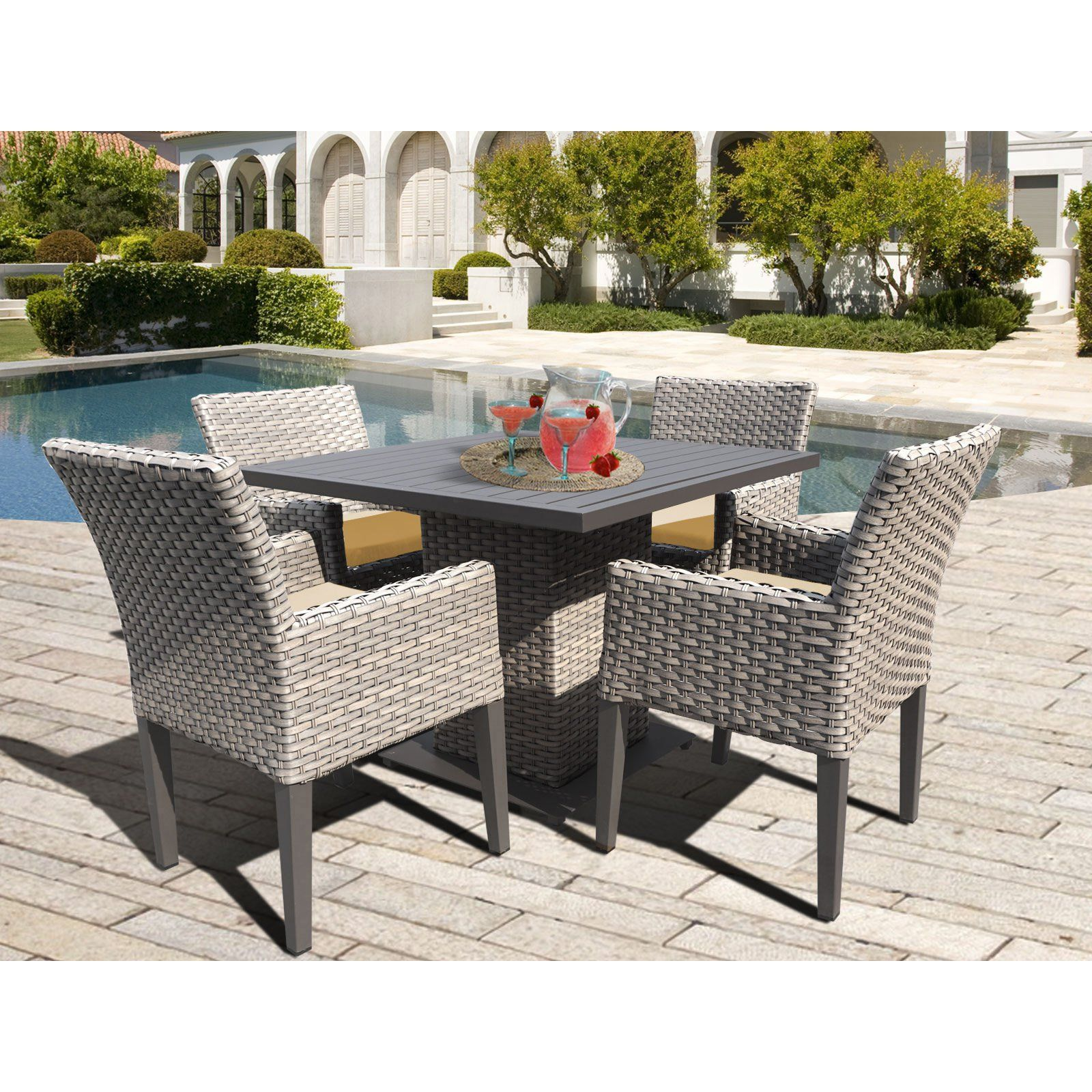 Tk Classics Oasis Wicker 5 Piece Outdoor Square Dining Table Set Wheat