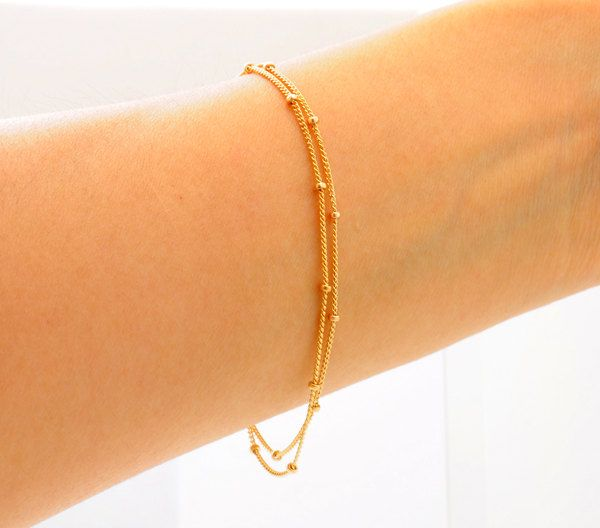 Delicate Gold Bracelet, Two chains, Thin and feminine, Minimum Jewelry, Gold Dot Chain, everyday jewelry - Fifi LaBonge-. $28.00, via Etsy.