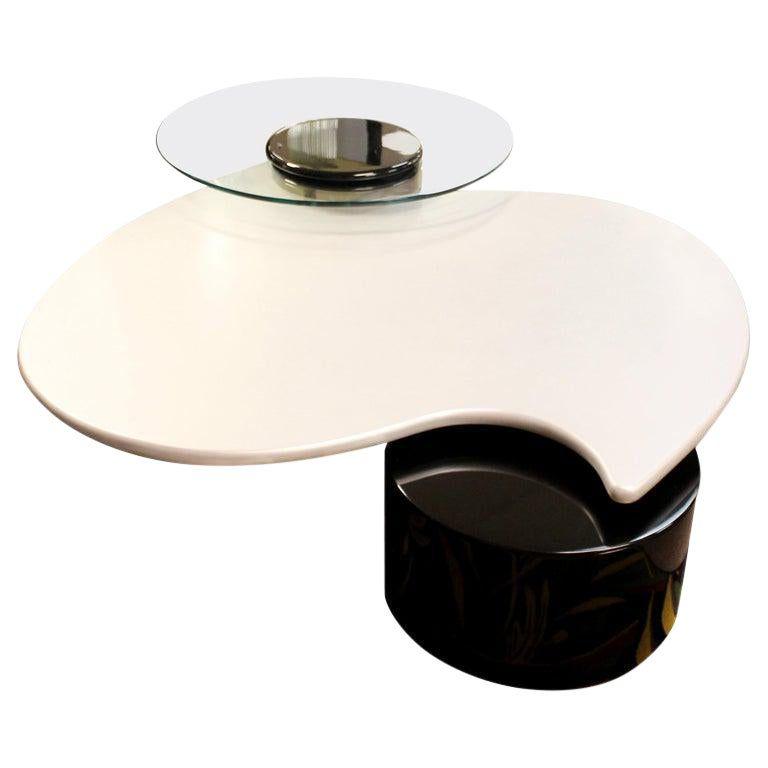 Postmodern Modernist Rougier Articulating 3 Tier Coffee Table 1980s Coffee Table Black Marble Coffee Table Marble Coffee Table