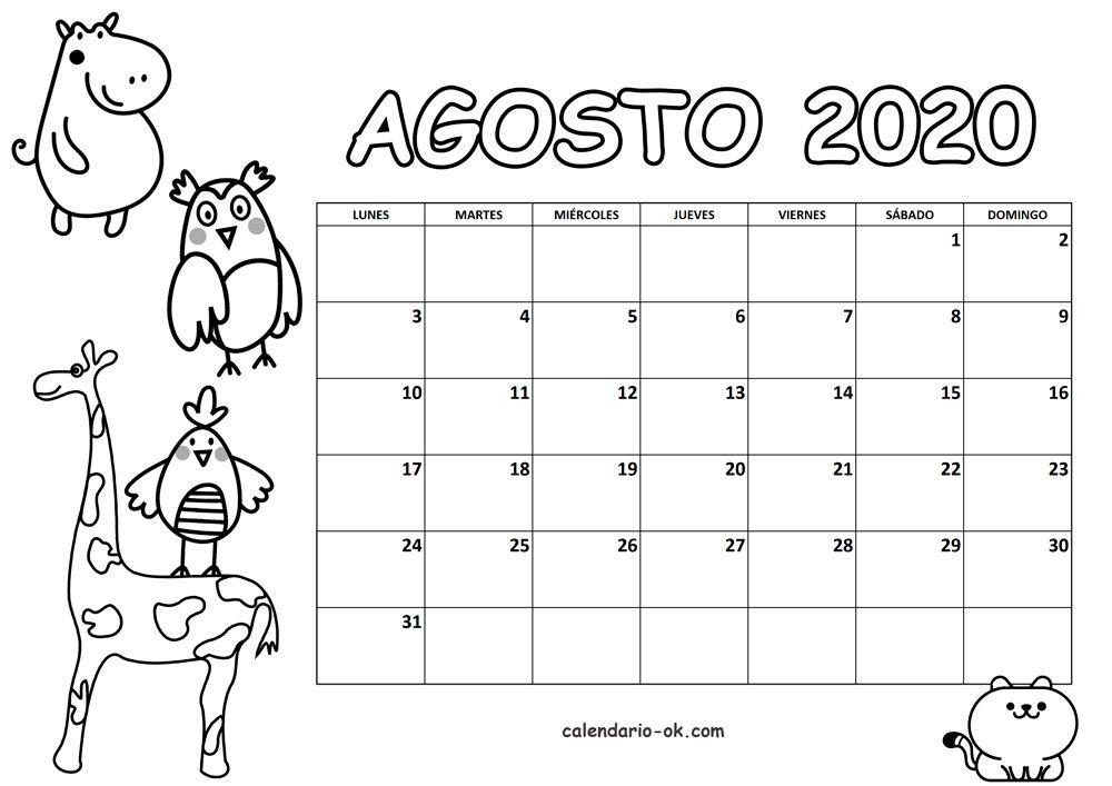 Plantilla Agosto 2020 Para Colorear Calendario Para Ninos Bullet Journal School Calendario Infantil