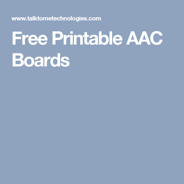 Free Printable AAC Boards