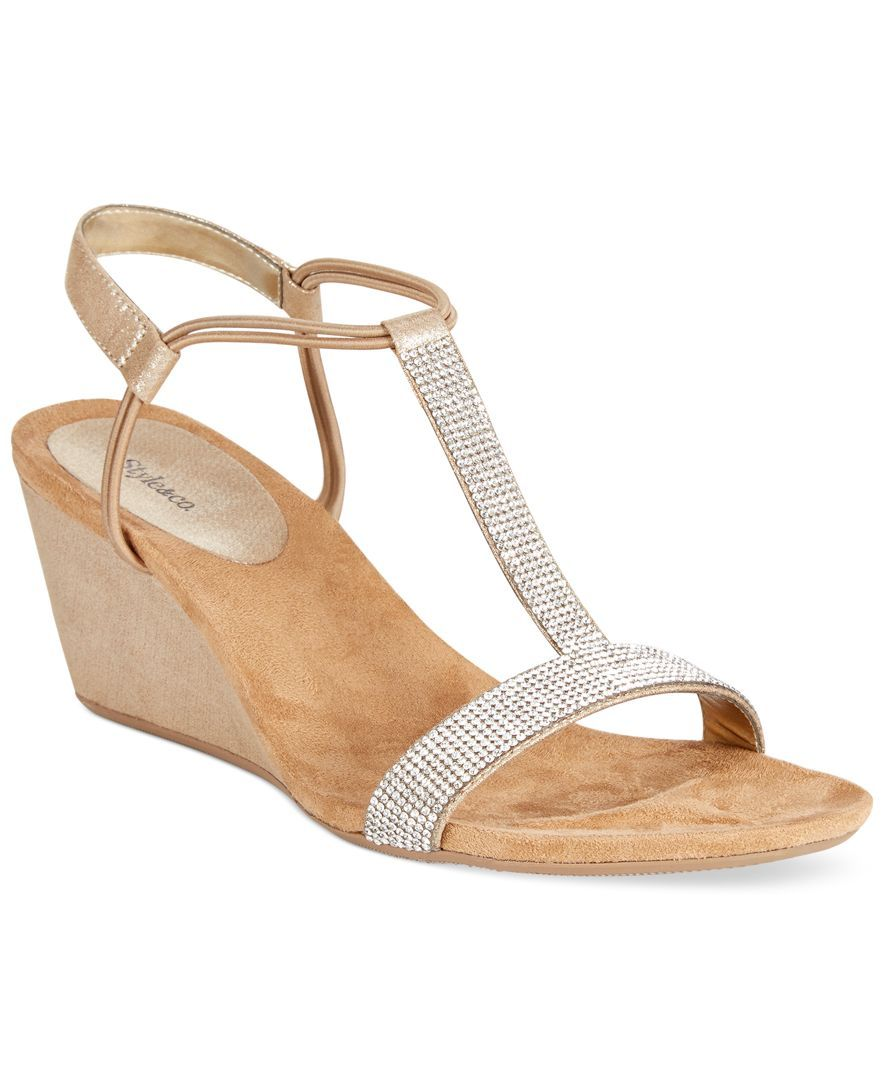 Style Co Mulan 2 Embellished Evening Wedge Sandals Created for