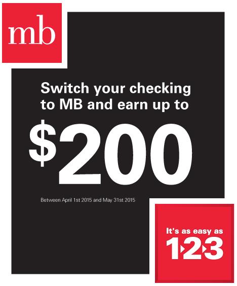 Mb Financial Bank 200 Personal Checking Account Bonus Checking Account Bank Rewards Banking