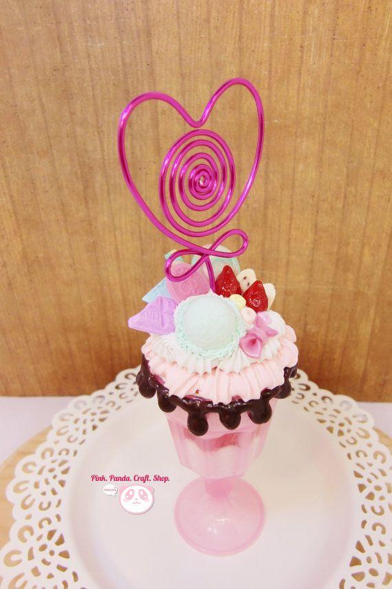 Super cute pink sweet decoden ice cream by pinkpandacraftshop, $28.00 #handmade #sweetdeco #kawaii #cute #clay #icecream #love #pink #parfait #sundae #jello #wire #photo #card #strawberry #pastel #dessert #fakesweet #faux #miniature