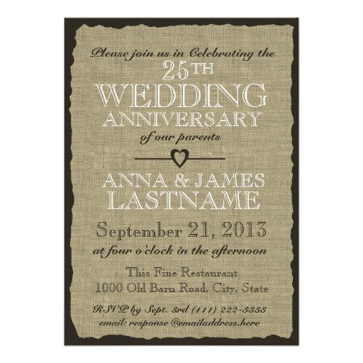 Rustic Burlap Wedding Anniversary Invitation Wedding Anniversary