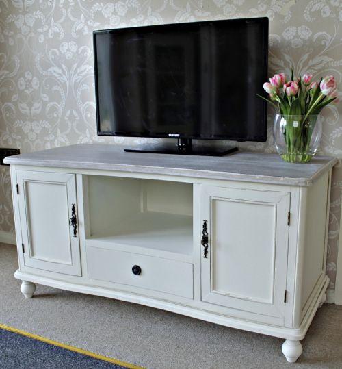 Cottage Cream Wooden Tv Unit Cabinet Shabby Lounge Television
