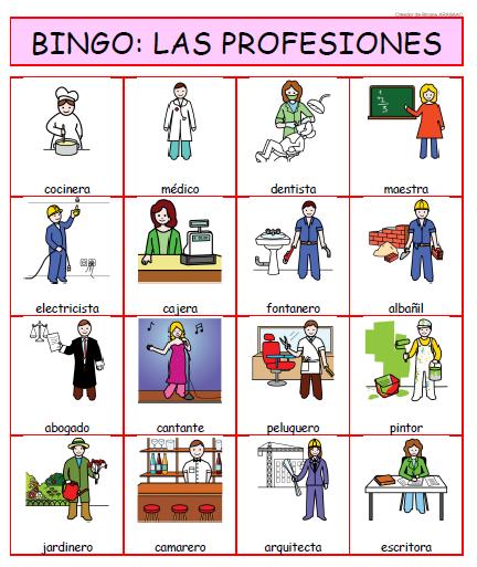 Bingo Profesiones Vocabulari Pinterest Bingo Juegos Y
