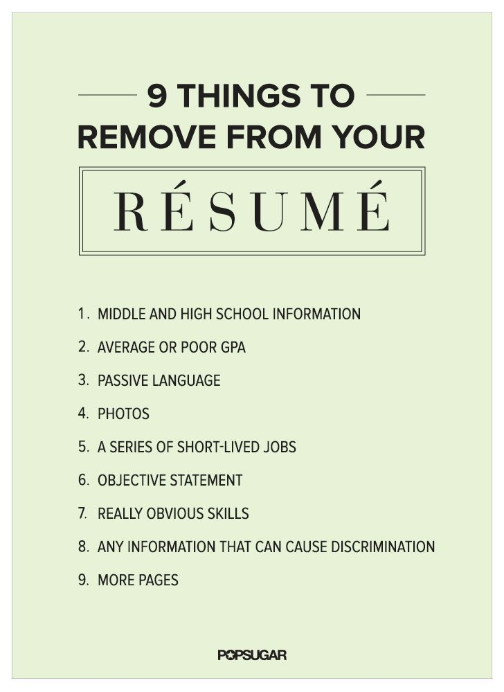 9 Things to Remove From Your Résumé Right Now Life hacks, Resume - guide to create resume