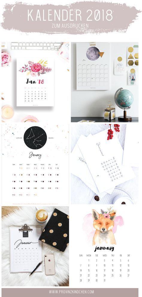 die sch nsten kalender f r 2018 zum ausdrucken calender. Black Bedroom Furniture Sets. Home Design Ideas