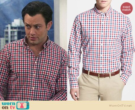 4ab62a2e4c413a Josh's red and blue checked shirt on Young and Hungry. Outfit Details: http: