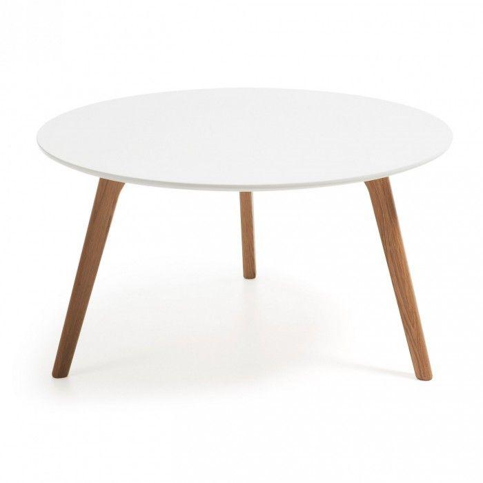 Mesa centro redonda brick 90 con patas de madera y sobre for Mesas comedor escandinavas