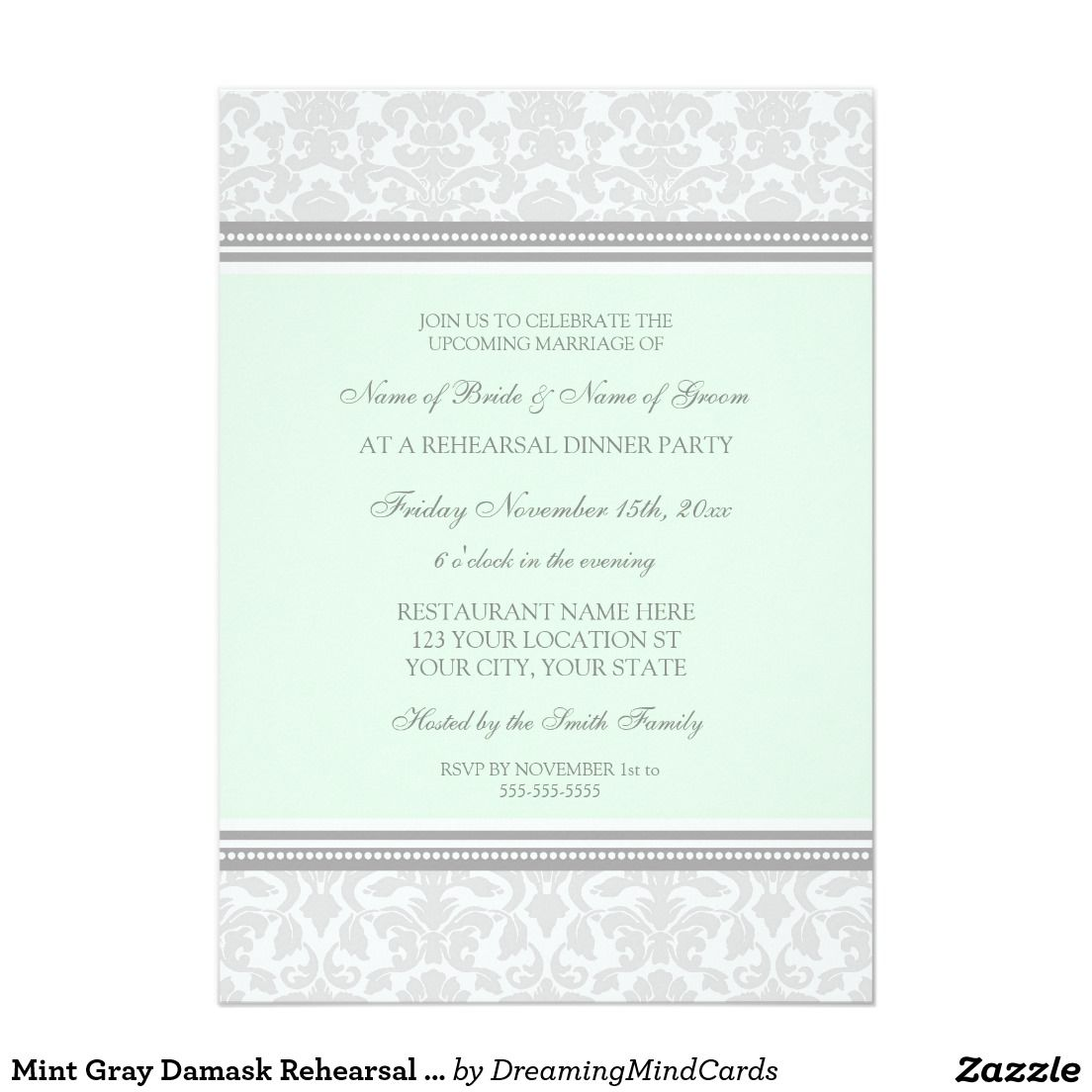 Mint Gray Damask Rehearsal Dinner Party 5x7 Paper Invitation Card ...