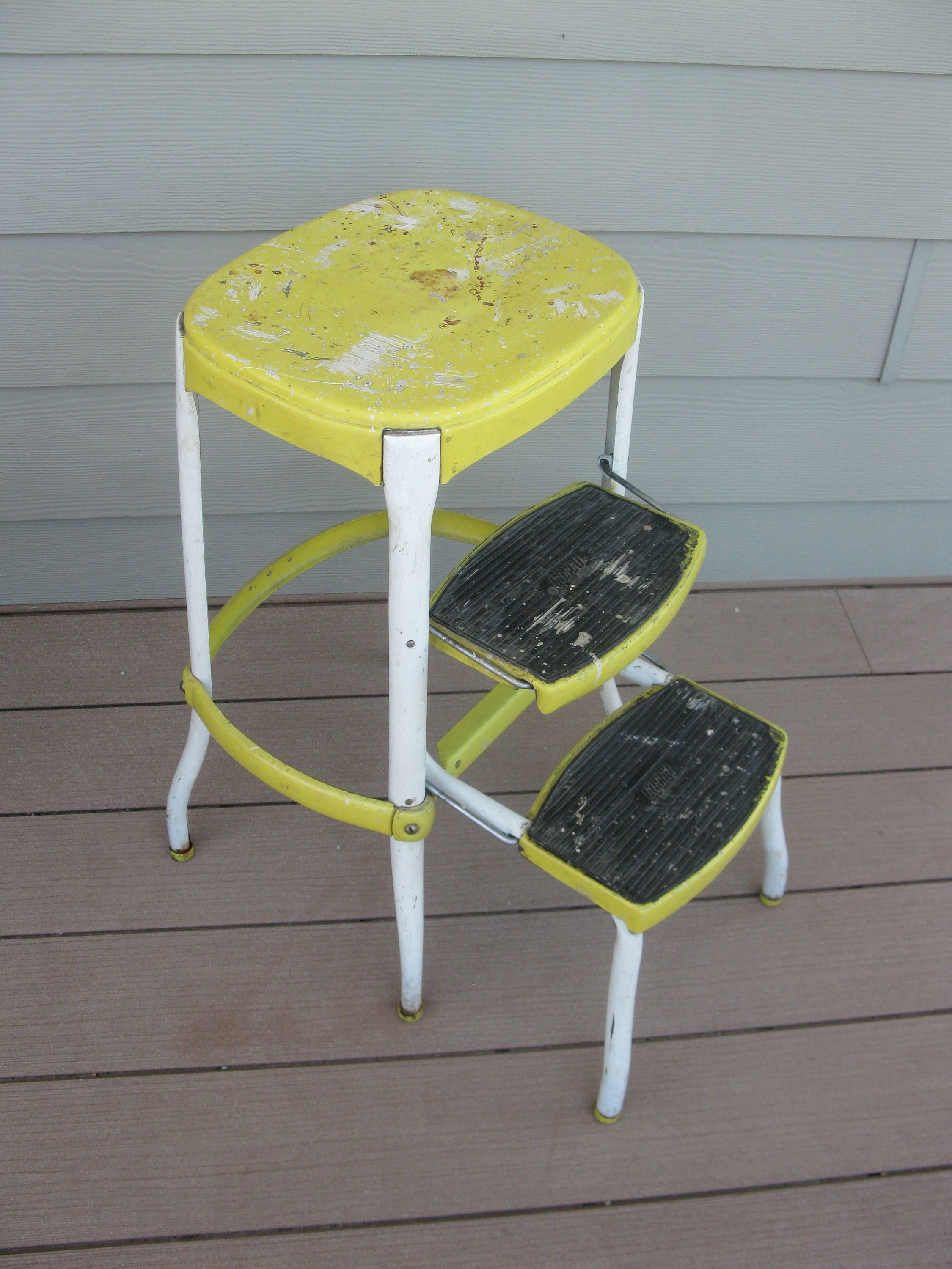 Shabby Metal Cosco Stool  Chair  Yellow  Childrens   Step Stool  Kitchen
