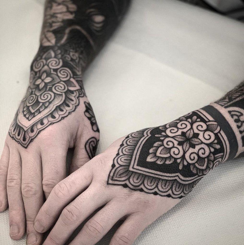 Ornamental Tattoo Artist Jack Peppiette Mandala Hand Tattoos
