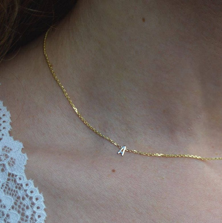 Collar Bone 10k Initial Necklace Solid Gold Letter Necklace Single Initial Gold Pendant By Gvant Initial Necklace Gold Initial Necklace Gold Letter Necklace