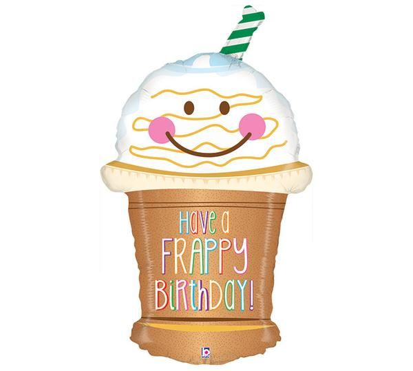 32 Quot Happy Birthday Frappy Balloon Frappuccino And Happy