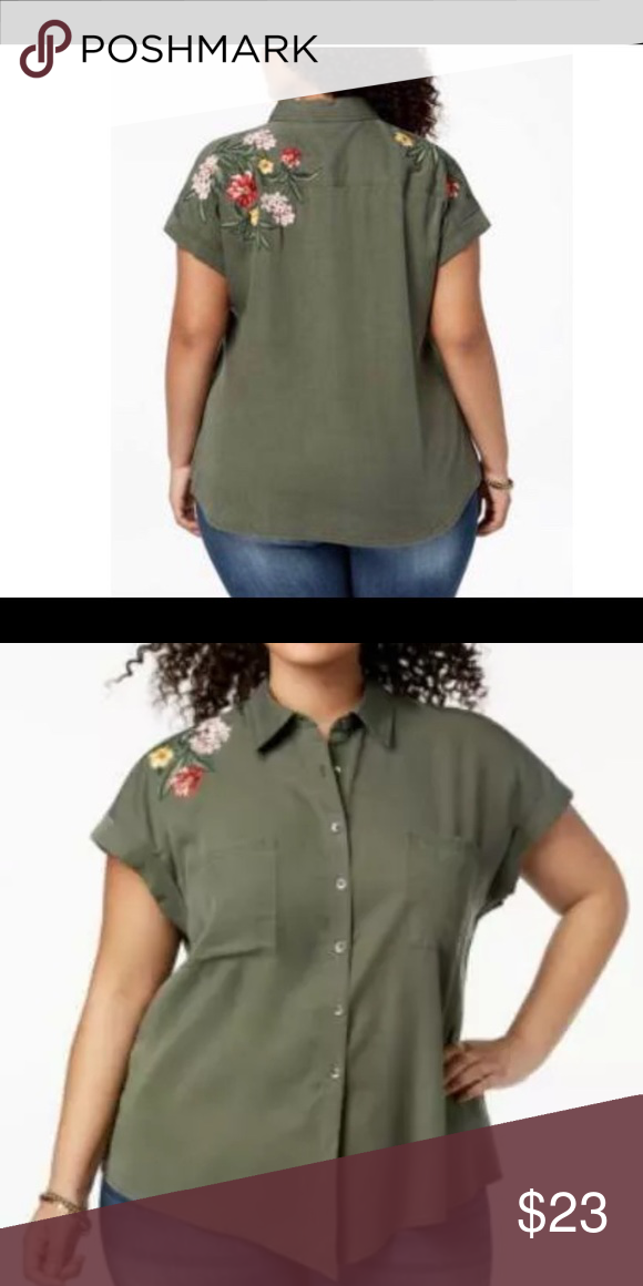 save up to 80% amazing quality vast selection Style & Co Plus Size Olive Green Floral Shirt 0X Style & Co ...