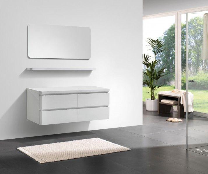 Badmöbel Serie SWING 1400 Weiß Hochglanz günstig online kaufen | Bad ...