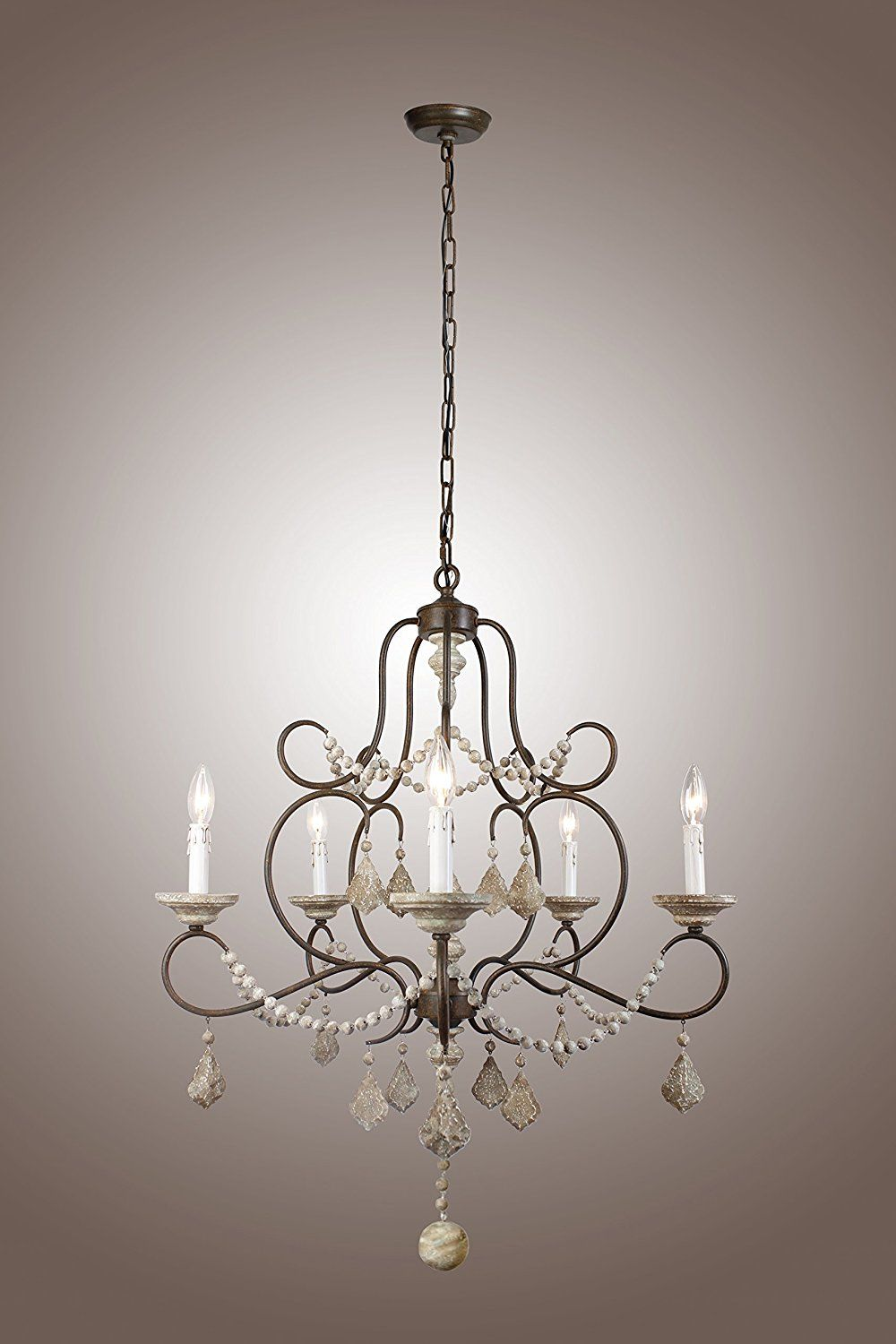5 Lights Iron Frame Wood Beads Chandelier French Chateau Country Wood Bead Chandelier Country Chandelier French Country Chandelier