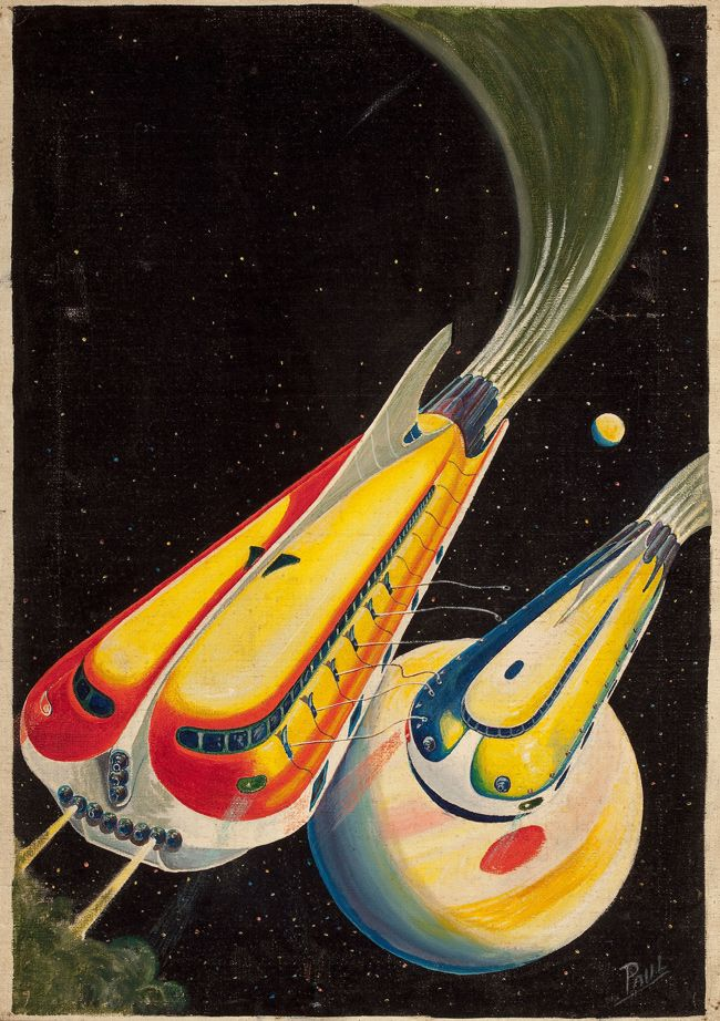 """Lord of Tranerica,"" Dynamic Science Stories cover, February 1939 / Tetrahedra of Space - 50 Watts"