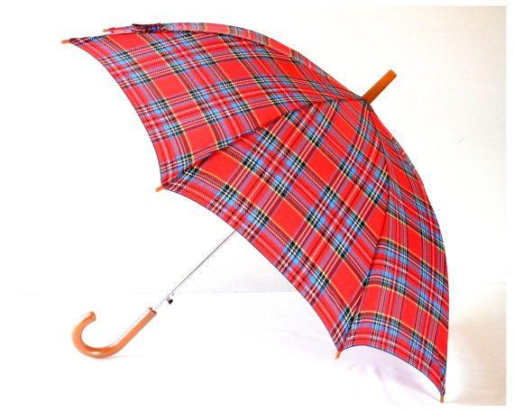 April Showers Red Plaid Umbrella with Tan Handle by bigbangzero, $64.00