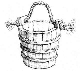 Bucket For Water With a Rope Raven