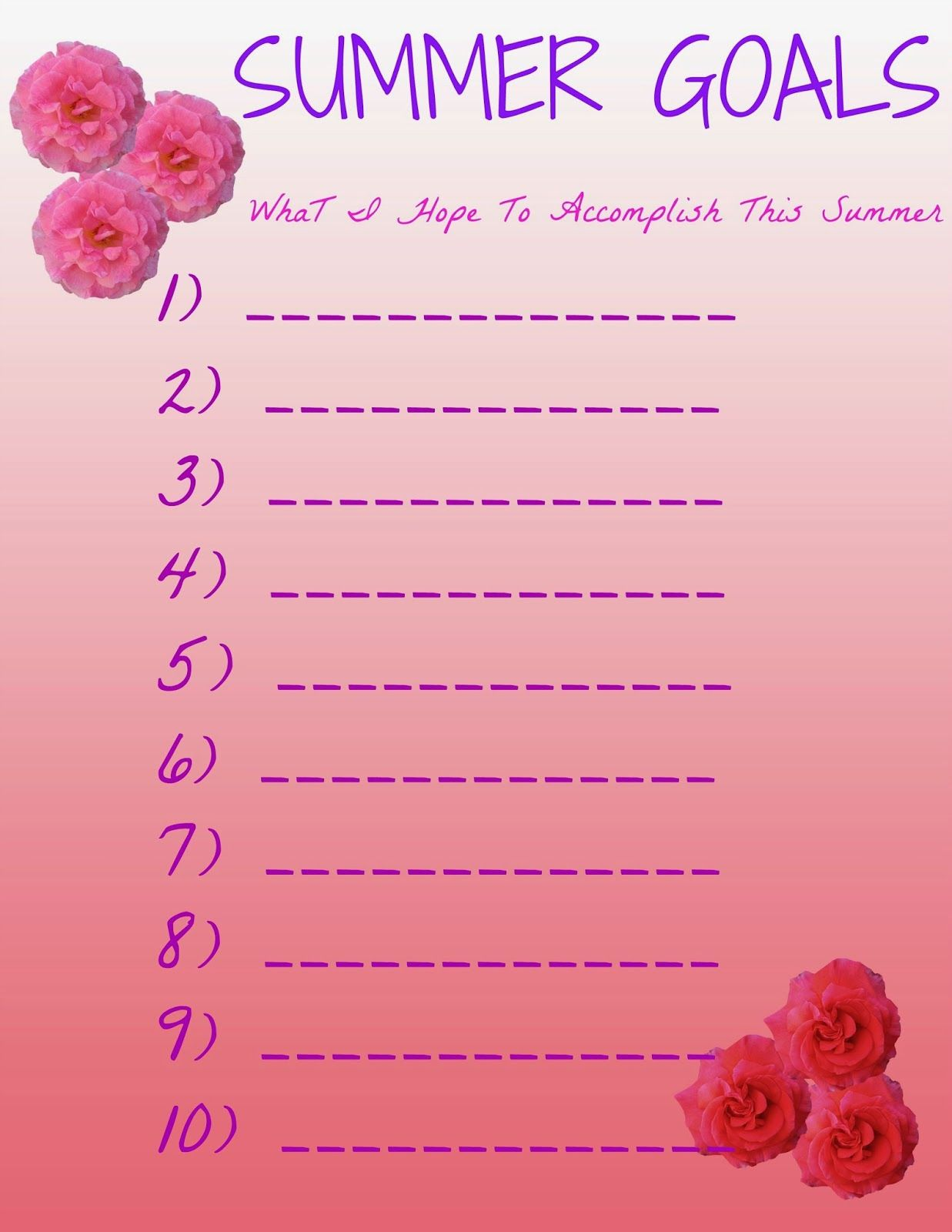 Try It Tuesday 4 Summer Goals Printables