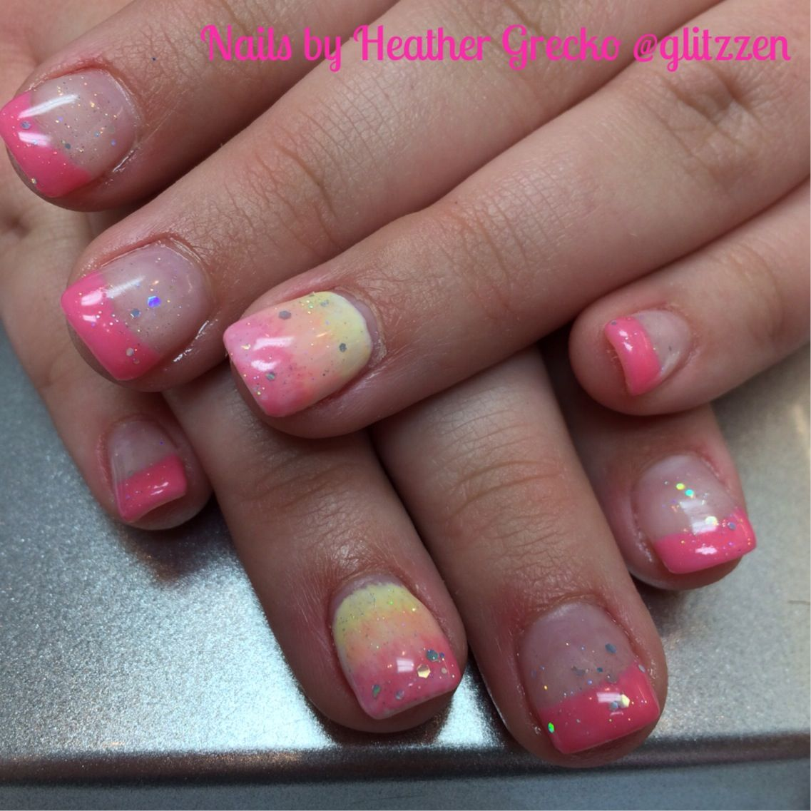 LCN's Pink Butterfly Color Gel. Ombre Nail With Extra