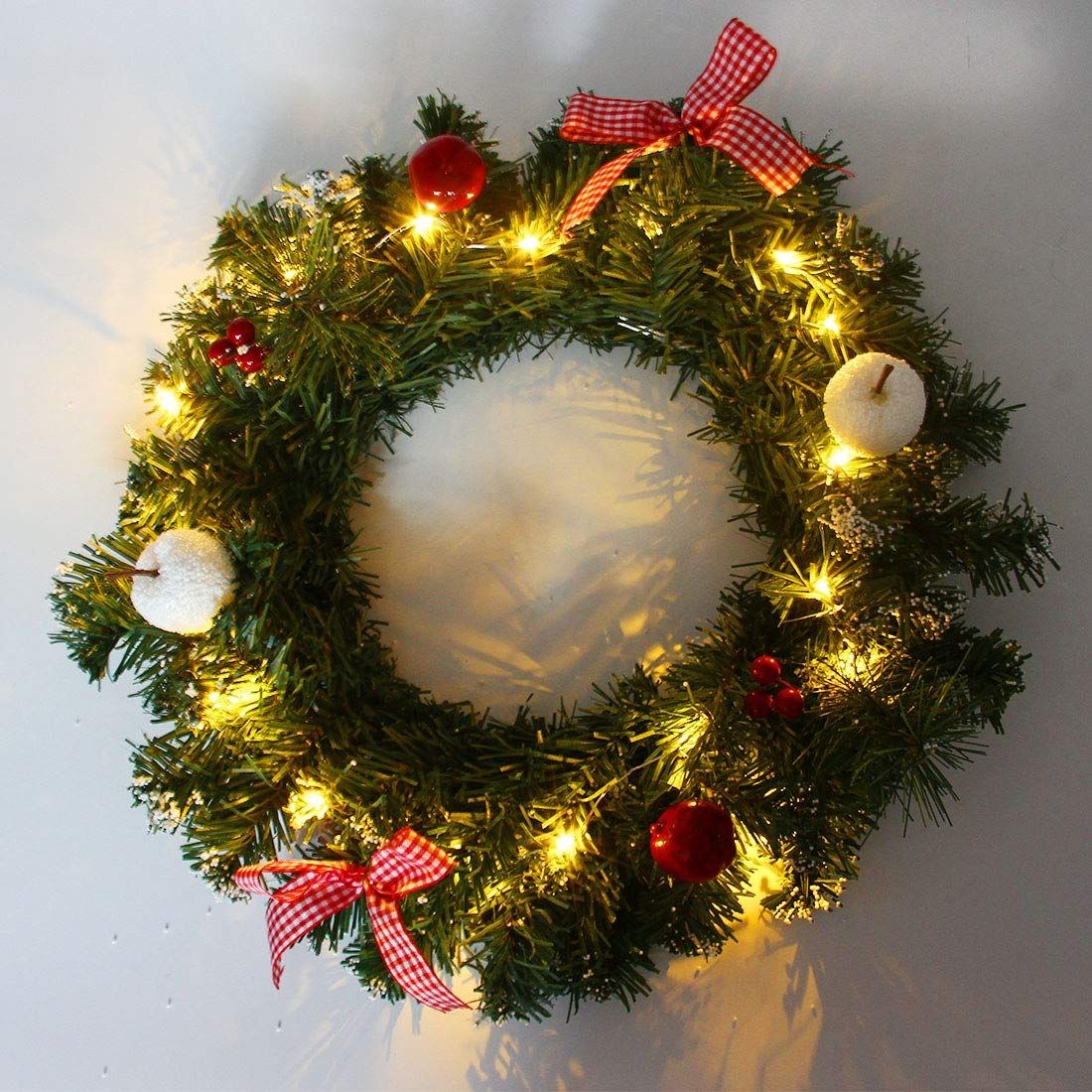 Hometook Christmas Wreaths With Lights For Front Door 12 Inch Artificial Xmas Pine Wreat With Images Christmas Wreaths Christmas Decorations Christmas Wreaths With Lights