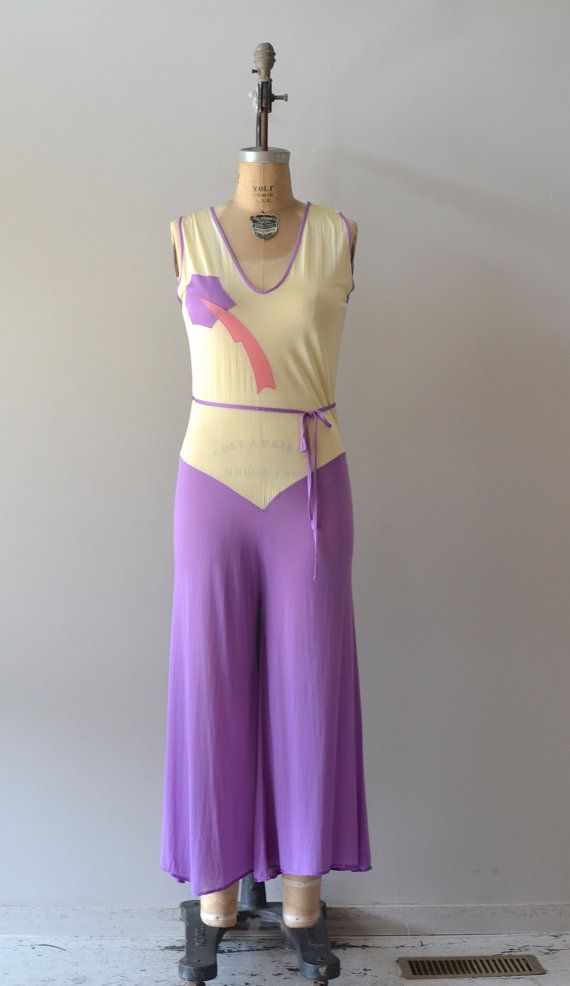 vintage 1930s beachwear / 30s lounge jumpsuit / deco by DearGolden ...
