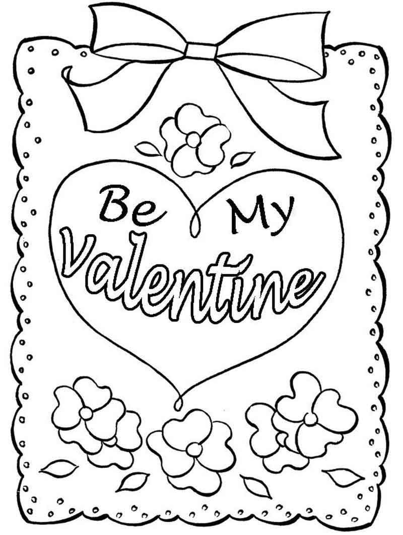 Be My Valentine Coloring Page Printable