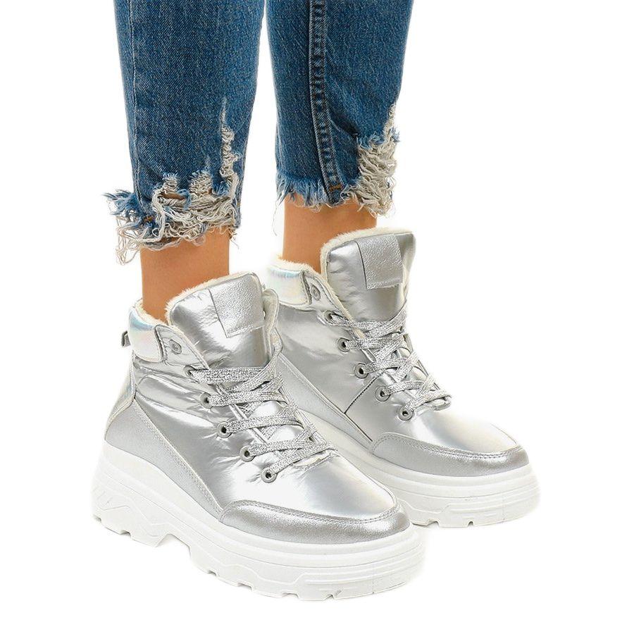 Srebrne Ocieplane Sneakersy Heiden Srebrny Wedding Sneaker Wedge Sneaker Shoes