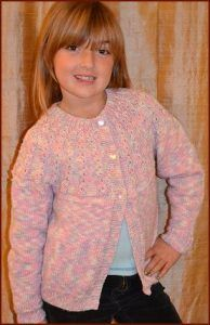 256804042df5a Girl s Cardigan Free Knitting Pattern with Pretty Yoke. Free children s knitting  pattern download
