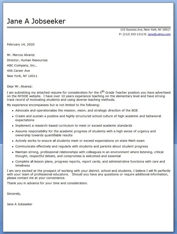 Cover Letter Sample For Teachers  Education    Cover