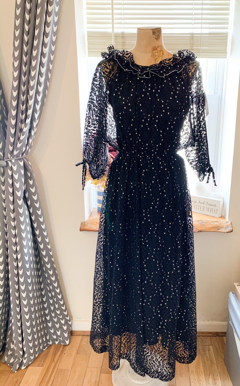 70s Black Maxi Dress Flutter Sleeve Dress Excellent Etsy Flutter Sleeve Dress Black Maxi Dress 70s Maxi Dress [ 3000 x 1870 Pixel ]