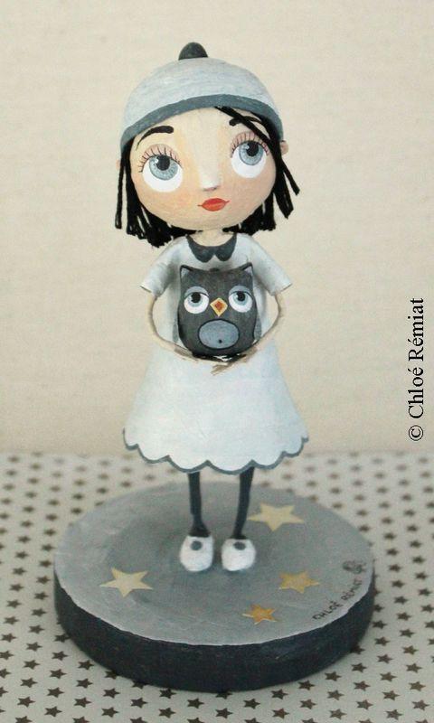 Chloé Remiat papier mache figurine girl with owl   Papier Mâché ...
